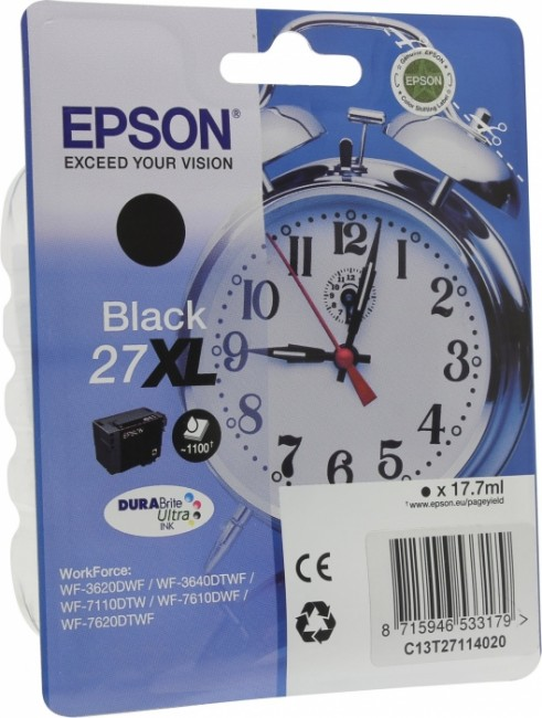 C13T27114020 Картридж Epson Singlepack Black 27XL DURABrite Ultra Ink for WF7110/7610/7620 (cons ink)